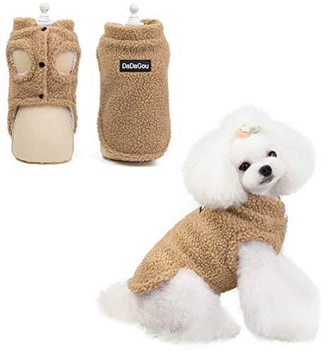 Kismaple Cappottino Invernale per Cane Autunno Inverno Cappotto Vello Caldo Vestiti per Cani Piccola, Media Rivestimento Cane Vestiti della Maglia Tuta (M (Busto 37cm, Indietro 25cm), Giallo)