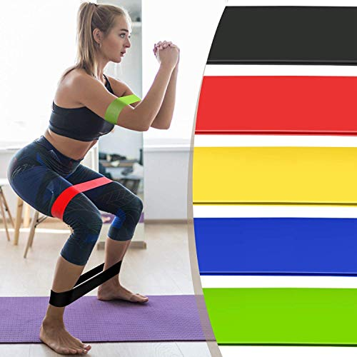 AEXiVE Resistance Loop Exercise Bands for Squats, Hips, Legs, Butt, Glutes and Heavy Workouts Physical Therapy, Rehab, Stretching, Home Fitness (Set of 5)
