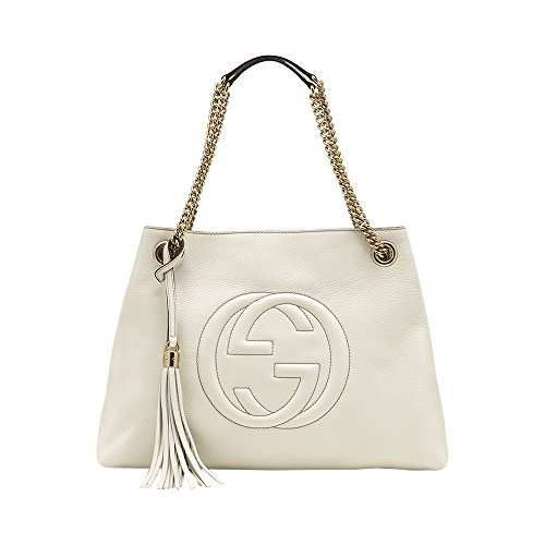 """41otZY2MX2L Gucci Mystic White Zumi Shoulder Bag Small Handbag Gold Strap Italy Authentic NW Inspired by pieces in the Gucci house archive, a compact bag of grained leather combines two historical motifs into its two-tone horsebit and G flap hardware. Push-lock flap closure Adjustable shoulder strap Divided interior; zip pocket Structured silhouette and level base for stability Leather Made in Italy 9 ½""""W x 6 ¼""""H x 3""""D. (Interior capacity: small.) 20"""" - 23"""" convertible strap drop. 1.6 lb. Style 9022"""
