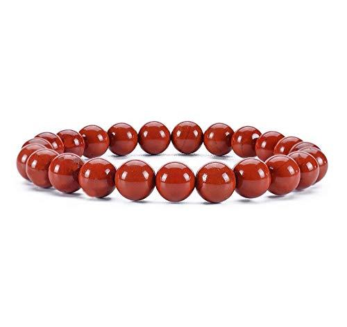 Natural Grade A Red Jasper Bracelet 7 inch Stretch Gemstone...