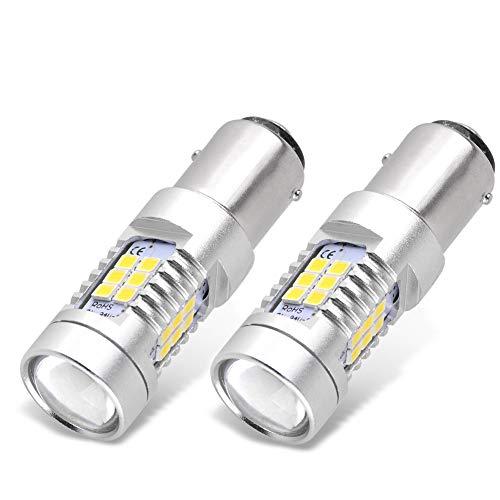 YITAMOTOR 1157 LED Bulb White for Reverse Light, BAY15D 2357 2057 7528 LED Replacement Brake Tail Light Bulb for Vehicle Motorcycle Trailer Tractor Camper RV, 12V-24V, 2-Pack