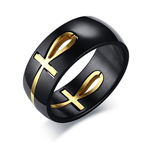 VNOX Anillo de acero inoxidable Ankh, Oro Negro