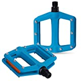 DRBIKE MTB Pedals Mountain Bike Pedals Lightweight Nylon Fiber Bicycle Platform Pedals for BMX MTB Road Fixie 9/16', Teal