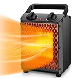 Space Heater  TRUSTECH Portable Heater with Adjustable Thermostat & Overheat Protection, Ceramic Electric Heater for Home, Office and Indoor Use, 3 Quiet Settings & Easy-Grip Carry Handle, 750W/1500W