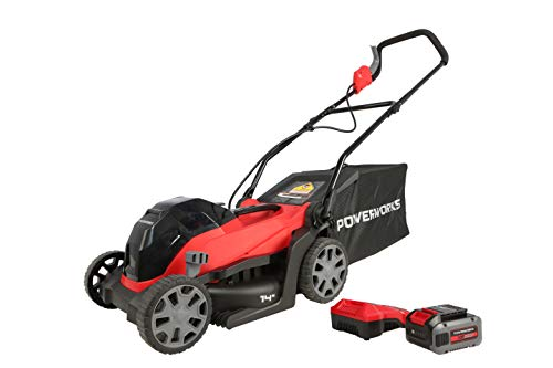 POWERWORKS XB 40V 14\' Cordless Push Mower, 4Ah Battery and Charger Included LMF334