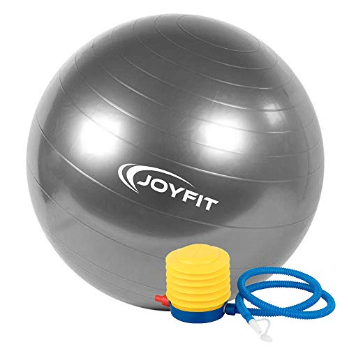JoyFit PVC Exercise Ball with Inflation Pump, Size 65 cm, (Grey)