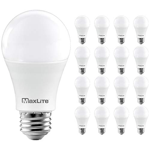 MaxLite A19 LED Bulb, Enclosed Fixture Rated, Daylight 5000K, 100W Equivalent, 1600 Lumens, Dimmable, E26 Medium Base, 16-Pack