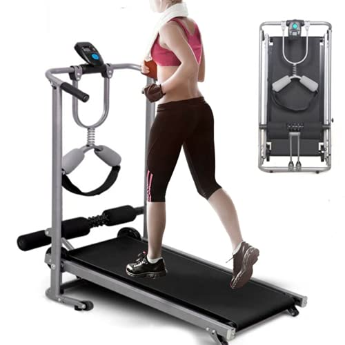 Youyijia 2 In 1 Folding Treadmill 102 * 97 * 44cm Walking Running Machine Queiting Treadmills Manual Treadmill for Home Office Cardio Fitness
