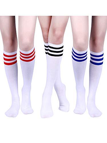3 Paia Classic Striscia Tripla Calze Donna Ginocchio Calze Alte Calzini Morbidi di Cotone Tubo per Costume, 3 Colori (Colore Set 1)