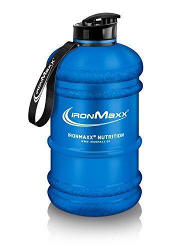 IronMaxx Water Gallon - 2,2 liter - Blau Matt - Auslaufsichere Fitness Trinkflasche mit Tragegriff - BPA frei - Messskala für genaue Dosierung - Designed in Germany