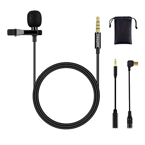 Microfono clip-on Szeshineco Lavalier, Set di microfoni a condensatore omnidirezionale da 3,5 mm per smartphone, laptop, PC, fotocamera, GoPro e altro