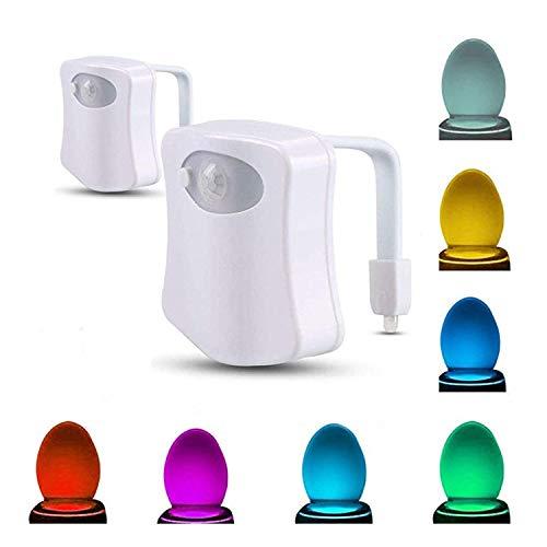 Topways 2 pezzi Lampada Notturne,8 colori che cambiano LED Sensore automatico PIR Motion attivato...