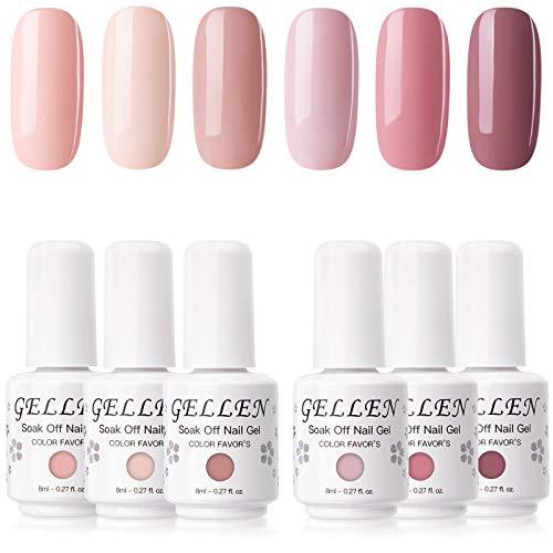 Gellen Gel Nail Polish Set - Pinks and Nudes Pastel 6 Colors, Warm Blush Tones Gel Polish - Popular Nail Art Design Home Gel Manicure Kit