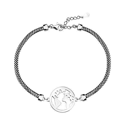 SOFIA MILANI Bracelet Femme Pendentif Carte du Monde Argent 30223