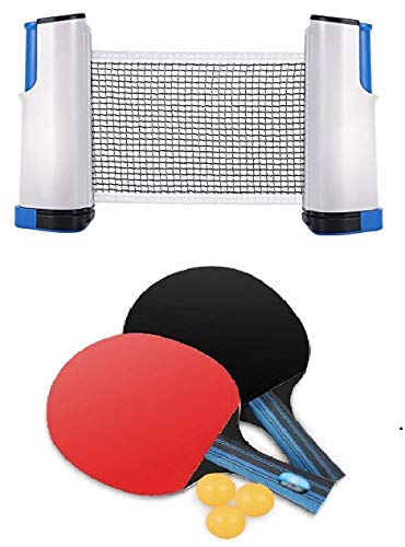 Tima Table Tennis Set with Two Racket with Three Ball and One Adjustable TT Net
