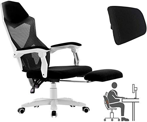 HOMEFUN Ergonomic Office Chair, High Back Executive Desk Chair with Footrest Adjustable Comfortable Task Chair with Armrests and Lumbar Support White