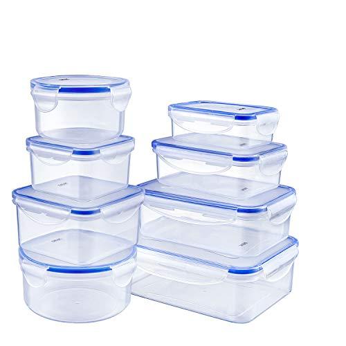 Deik Set di Contenitori per Alimenti Senza BPA, Impilabile 8 Pezzi, Certificato LFGB, Adatto per...