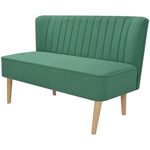 Festnight Divano a 2 Posti Design Moderno in Stoffa 117x55,5x77 cm Verde/Giallo da Salotto/Soggiorno (Verde)