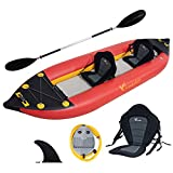 Freein Kayak|Emergency Boat| 1-2 Person Professional Series Lightweight Inflatable Kayak Sit-in Kayak Set with Paddle | Seat | Fin | High Output Air Pump | Carry Bag 10'6'&12'6'