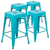 Flash Furniture 24' High Metal Counter-Height, Indoor Bar Stool in Teal - Stackable Set of 4