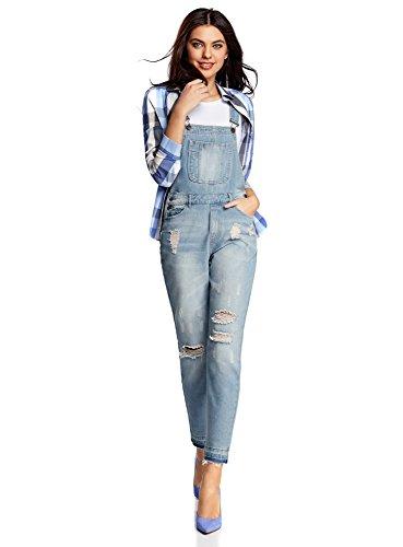 oodji Ultra Damen Jeans-Latzhose mit dekorativen Waschungen, Blau, DE...