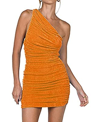 The short bodycon dress delights with feminine slim fit design, sexy cut out, one shoulder, sleeveless, ruched, stretchy fabric easy dress up and down. Slim fit, above knee length. This solid color pleated stretchy mini dress with asymmetrical one-sh...