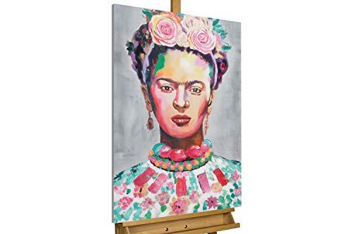 Kunstloft® Cuadro en acrílico 'Frida' 60x90cm | Original Pintura XXL Pintado a Mano Sobre Lienzo | Abstracto Mujer Cuadro acrílico de Arte Moderno con Marco