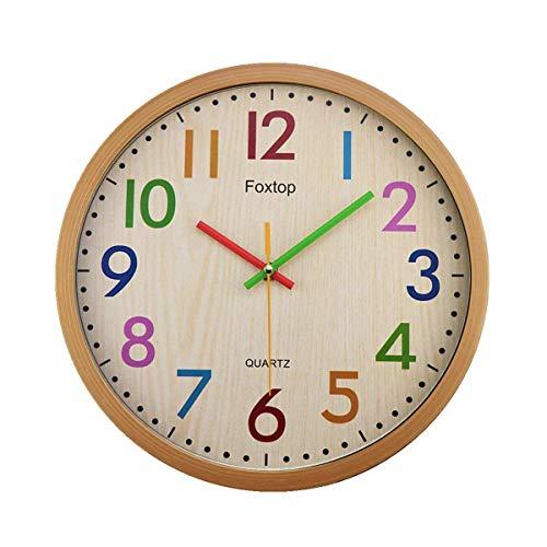 Foxtop 12 Pouce Horloge Enfant Élégant Coloré Silencieux Non-tic-tac Enfants Horloge Murale avec Mouvement de Balayage pour Chambre Cuisine Salon École Cadeaux (Jaune)