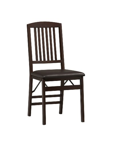 Linon Triena Mission Back Set of 2 Folding Chair,...