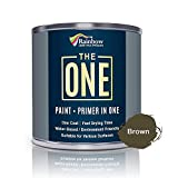 The ONE Paint - Brown - 1 Liter - Gloss Finish, Multi Surface for Wood, Brick, Fence, Front Door, Furniture, Siding, Barn - Interior or Exterior
