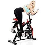 (US in Stock) Indoor Cycling Bike Stationary - Fitness Cycle Upright Exercise Bike Cycle Bike with Comfortable Seat Cushion, LCD Monitor, Heart Rate Sensor & Water Bottle Holder