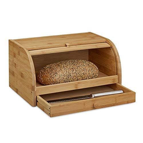 Relaxdays Rollbrotkasten mit Schublade, Bambus, aromadicht, Brotkasten mit Rolldeckel, HxBxT: 21 x 40,5 x 28 cm, Holz, natur