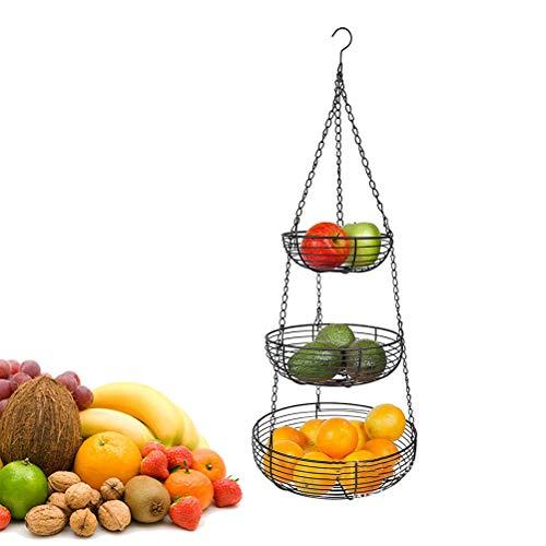 NNGT Obstkorb hängend mit Deckenhaken,Küchenampel zum Aufhängen - Obst Hängekorb Küche,Hängender Obstkorb,Gemüsekorb aus Metall, obstkorb hängend
