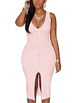 Material: Polyester & Spandex. Lightweight, stretchy and comfortable. Feature: Sleeveless, gold zipper-front, deep v neck, solid color, sexy bodycon club party dress. Occasion: Nightclub, party, night out, clubwear, cocktail, evening, dating and othe...