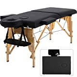 Portable Massage Table Spa Bed Folding 84 Inch Height Adjustable 2 Fold Massage Bed with Carry Case PU Leather Professional Facial Salon Tattoo Bed with Face Cradle, Hold Up to 450Lbs, Black