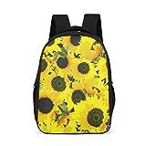 Mochila escolar ligera para niños y niñas, con flores amarillas y plantas, girasol, con bolsillos laterales