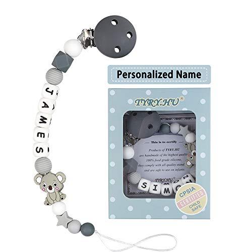 Schnullerkette mit Namen für Mädchen und Jungs Personalisierte Schnuller Dummy Clips Zahnen Silikon Koala Babydusche (Grauer Koala)