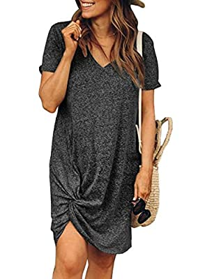 Fetures: V neck, short sleeve casual soft dress Solid dress above knee length with side tie knot Aleumdr Women Short Sleeve Side Knot Tshirt Dresses Casual Loose Solid Dress Above Knee Women casual mini dress is effortlessly easy for a summer day wit...