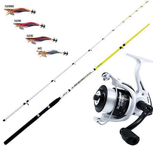 AGC Kit EGING Canna + Mulinello + 4 TOTANARE, Canna Pesca Deep Walker Squid + Mulinello Evo Fishing Supreme 3000 + Kit 4 TOTANARE in 4 Colori Assortiti (180)