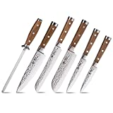 BGT Japanese 67 Layer High Grade VG-10 Super Damascus Steel Knives, Sharp, Teak Handle Professional Hammered Kitchen Knife Set with Knife Roll Bag 6Pcs Set (Silver Blade)