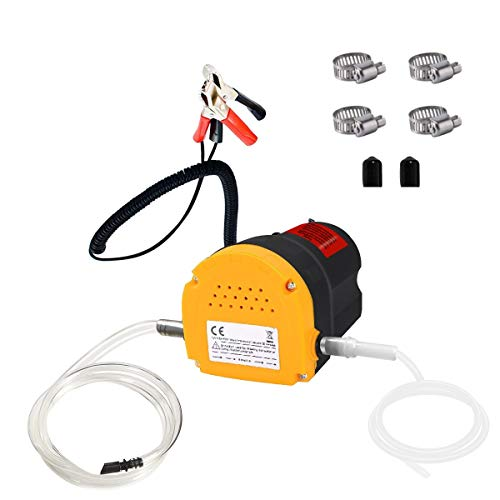 EONLION Oil Change Pump Extractor for Boat,Tubes,Truck, RV, ATV, Riding Mowe, 12V 60W Oil Pump Extractor with 2 Durable Anti-Corrosion Rubber Hoses, 4 Hose Hoops Included to Secure Hose
