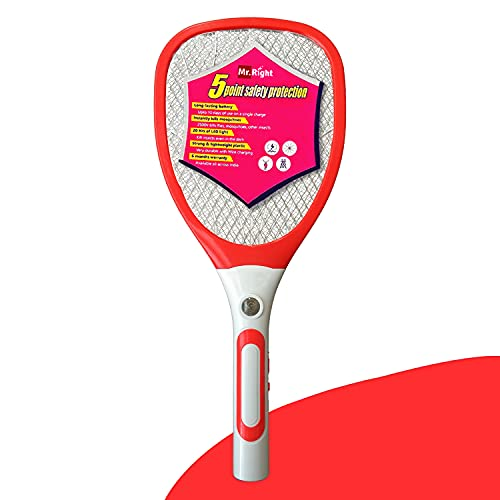 Mr Right Mosquito Bat - Rechargeable Mosquito Killer Racquet with LED Light (All India Warranty)