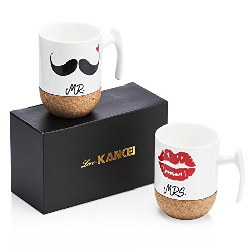 Love-KANKEI Mr and Mrs Tazze di Ceramica con Base in Sughero - Regali di Nozze/Regalo di San Valentino Uomo - Set di 2/10.5 oz