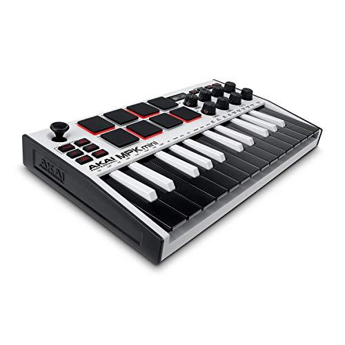 AKAI Professional MPK Mini MK3 White  Tastiera MIDI Controller USB a 25 Note con 8 Drum Pad Retroilluminati, 8 Manopole e Software Incluso (Bianco)