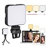 LED Lumière Caméra, Éclairage de Vidéoconférence avec Clip et Trépied, Dimmable Rechargeable...
