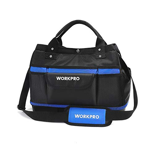 WORKPRO 15-inch Tool Bag, Top Open, Multi-use Tool Tote with Adjustable Shoulder Strap and Waterproof Molded Base, 13 Pockets
