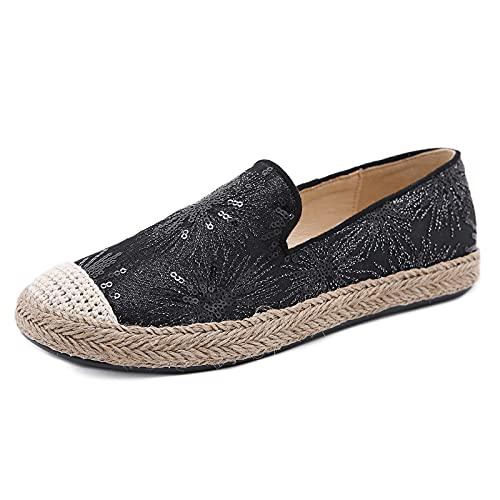 Alpargatas Planas Mujer Bohemia, Surwin Respirable Clásico Lona Plano Encaje Ocasionales Loafer Zapatos, Primavera Verano 2021 Alpargatas Adulto Mocasines Zapatos (Negro,36.5)