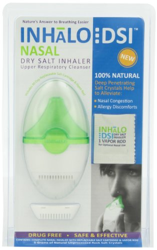SinuCleanse INHaLo Nasal Dry Salt Inhaler with Cooling Vapors - Contains 100% All-Natural Deep Penetrating Salt Crystals to Help You Breathe Easier - Includes 1 Ready-To-Use Upper Respiratory Inhaler
