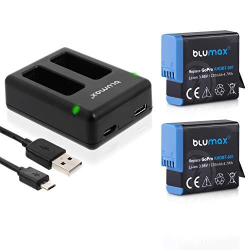Blumax - 2 batterie da 1250 mAh, ricambio per GoPro AHDBT-801/501 + mini caricabatterie compatibile con GoPro Hero 5/6/7/8/2018