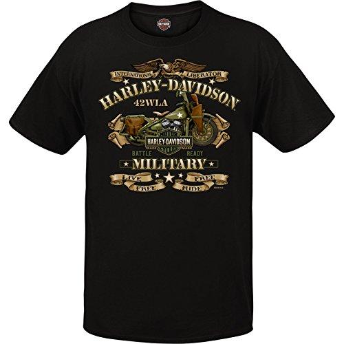 ハーレーダビッドソン ミリタリー - メンズ グラフィック 半袖 クルーネック Tシャツ - 海外ツアー | ウォーバイク US サイズ: Medium カラー: ブラック